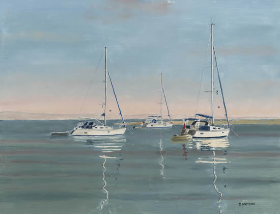 Anchored Yachts Langstone Harbour - Painting and Art Prints