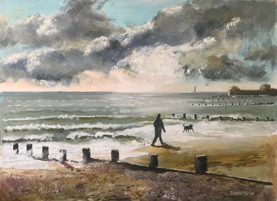 Art Gallery - Dog Walker, Hill Head beach Fareham - Painting by Gosport Hampshire Artist David Whitson