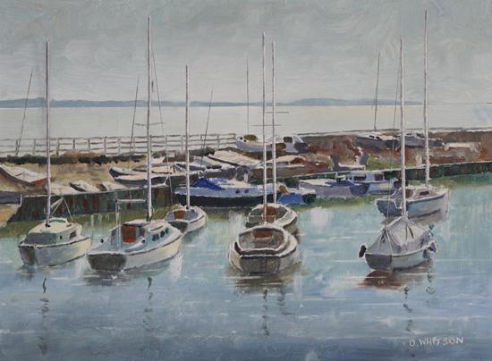 Boats - Winter Light Titchfield Haven - Art Prints asn Painting For Sale