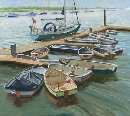 Boats at the Folly Inn Isle of Wight - Art Gallery