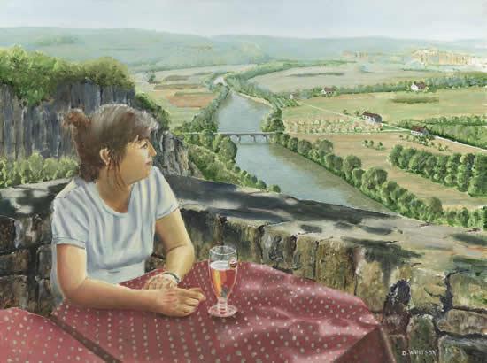 Girl in a Café, Dordogne Valley France - Art Prints