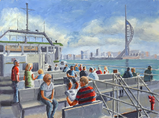 Gosport Ferry - Portsmouth Hampshire - Painting by Surrey Artist David Whitson