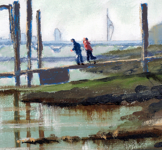 Pontoon at Hardway Portsmouth - Art Prints and Oil Painting For Sale