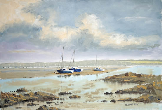 Portsmouth Harbour Looking North From Hardway Hampshire - Art Prints and Oil Painting
