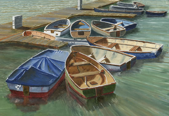 Small Boats Art Gallery - Painting by David Whitson