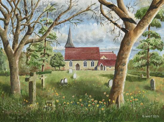 St Marys Church, Byfleet Surrey - Painting and Art Prints