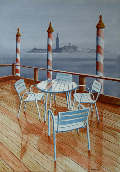 Table and Chairs - Rain in Venice - Art Prints