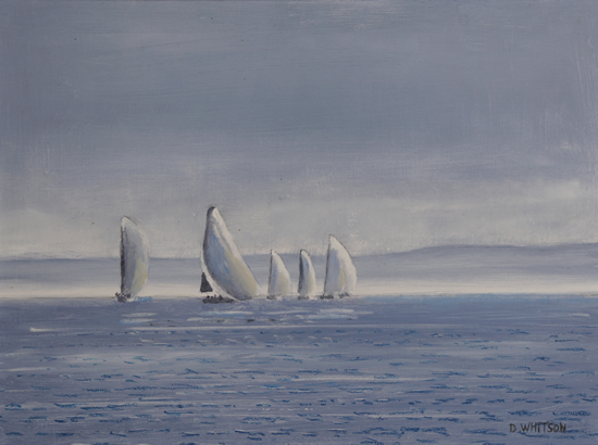 Yachts racing off Stokes Bay - Painting and Art Prints